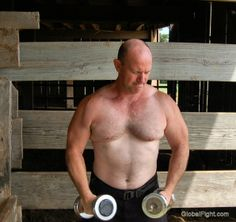 lifting weights at farm
