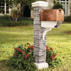 Cast~Stone Mailbox Post and Copper Mailbox