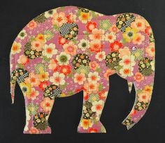 Lucky Elephant adapted using the Padded Top Stitch technique. www.paperquiltcreations.com       Bringing together a love of paper with the joys of sewing Paper Quilt, Moose Art, Applique, Elephant, Joy, Quilts, Stitch, Sewing, Animals
