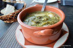Sopa de Beldroegas / Cheese, bread and purslane soup. A regional speciality from #Monsaraz, #Alentejo, #Portugal.