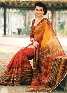 Orange N Red Shaded Silk Cotton Saree