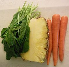 Green Juice Cleanse Recipes For Beginners- like Popeye In Paradise. 1/2 of a whole fresh Pineapple, 1/4 bunch of Spinach, 4 Carrots(2 large and 2 small)