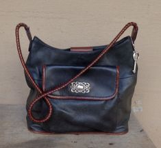 6c04a17831 FOSSIL Black Leather Bag w Brown Leather Trim Braided Strap 5