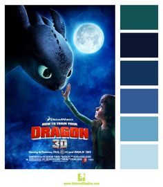 """Color palette based on the movie poster for """"How To Train Your Dragon"""""""