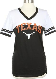 Ladies Black And White Texas Longhorn Football Jersey Tee