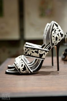 Only 3 Days Left Women's Black and White Embroidered Floral Vintage Heels Sandals #elegantshoegirl #shoes #ankle  #boots #flats #fashions #womens