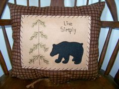 BLACK BEAR PILLOW Primitive Stitchery Rustic Cabin Decor Lodge Look Country Accent Grungy Stitched Embroidery Penny Rug Prim Live Simply Make Do Felt Felted Colonial Folk Art Homemade Pine Tree Whimsy Couch or Bench Accent Pillowcase sale FREE US SHIPPING