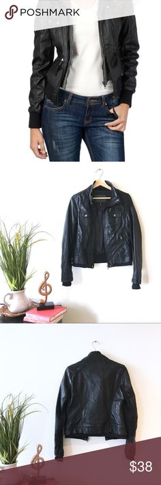 Cavalini women's Ci Sono Black leather jacket NWOT. Perfect condition! Never worn! Kinda big on me. No flaws! First photo shows how you can style with the jacket (look inspiration). The first photo is also a BB Dakota jacket they both came from the same style collection. A little bit different on the front zipper because of the presence of tassels on the first photo and the bottom seam of the jacket is also a little bit different. the actual jacket pictures are the latter photos. Offers…