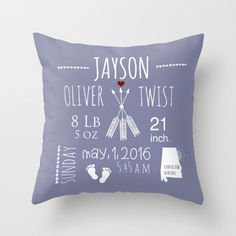 Cute New Baby Birth Custom Color 16x16 18x18 20x20 Mother Mom Daddy Gift Room Decor Announcement Kids Nursery Blue Boy Stats Accent Throw