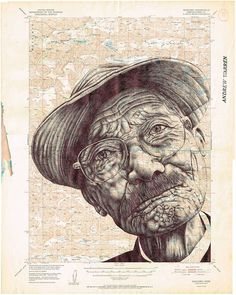 Mark Powell Uses Old Documents And Magazines As His Drawing Surface | iGNANT.de