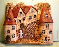 Картина панно рисунок Лепка Роспись Глиняные домики-картинки  шоколад Глина Краска фото 1