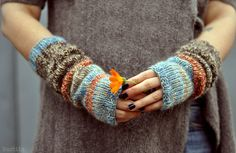 Knit fingerless mittens / knit tweedy fingerless gloves by Nastiin, $35.00