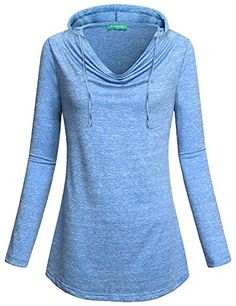 Vintage Sweatshirt ,Kimmery Women Funny Long Sleeve Cowl Collar Fold Basic Pullover Comfort T Shirt Tops Nice Hoodie Blue XXL - Kimmery Hooded Sweatshirt really gives you a unique,feminine touch,and the hoodie looks great with leggings or with jeans. Feature: .Ladies,This sweater is super soft,pleated and long sleeves for any kind of weather you will find with this type of material whether hot or cold or just in between, ...
