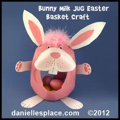 Easter Craft - Easter Bunny Milk Jug Craft Kids Can Make Easter Activities, Easter Crafts For Kids, Preschool Crafts, Craft Kids, Easter Games, Easter Ideas, Milk Jug Crafts, Rabbit Crafts, Recycled Crafts Kids