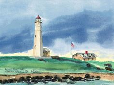Eaton's Neck Lighthouse, Northport Watercolor prints and note cards of over 250 lighthouses all over the USA. Start your collection today. Original paintings by sailor/artist Alfred La Banca, Darien, CT