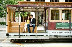 San Francisco engagement shoot ~ on a tram! Photos by Melanie Duerkopp | CHECK OUT MORE IDEAS AT WEDDINGPINS.NET | #weddings #engagement #engaged #thequestion #events #forweddings