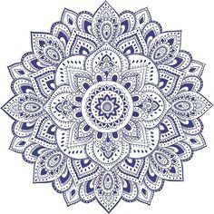 Mandala azul e branco