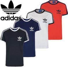 Adidas Mens Original Strip Short Sleeve Crew Neck Regular Trefoil Cotton T  Shirt   eBay Jersey bf4b9a3cc0