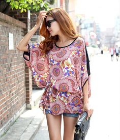 Floral Print Chiffon Bat-Wing Sleeves Scoop Neck Loose Fit Style Dress For Women (AS THE PICTURE,ONE SIZE) | Sammydress.com