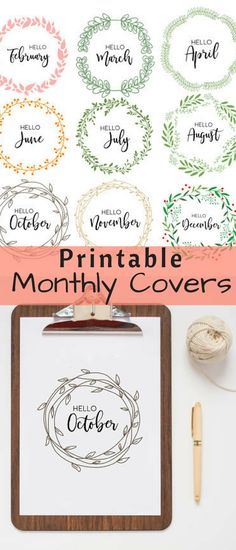 Beautiful printable monthly covers for my bullet journal! #ad