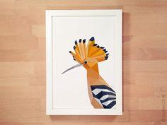 Hoopoe illustration Abstract bird art Animal by tinykiwiPrints
