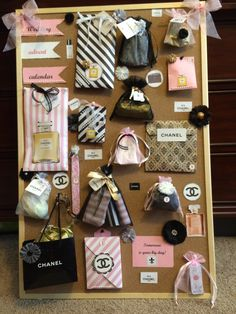 Coco Chanel themed wedding advent calendar. Filled with goodies, tissues, wedding mints, emery boards, bride tank top,, lipstick case, hand creams, notepad, pen, showers scrunchie, Chapstick, etc.  for sale $50
