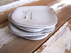 Vintage Stamp Numbers Set of Four Rustic Stoneware White Plates Small Reserved for Adrienne Pottery Plates, Ceramic Plates, Ceramic Pottery, Ceramic Art, Earthenware, Stoneware, Slab Ceramics, Vintage Stamps, Dinner Sets