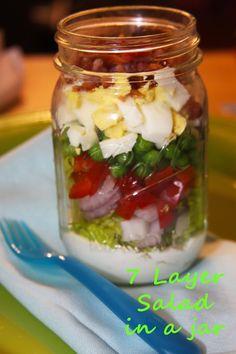 Southern 7 Layer Salad in a Mason Jar. Everything tastes better in a mason jar!