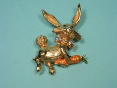 Bunny Rabbit Brooch or Pin Figural Gold Tone  with by dianadivine
