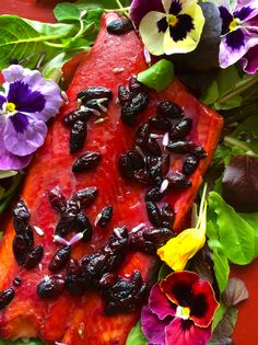 Grizzly Bear Salmon - salmon with wine and berries (great use of the haskap out front, but blueberries work too)
