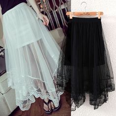 Women Gauze See Through Mesh Tulle Lace Floral Gothic Long Maxi Skirt Dress #MDSTUDIO #Pleated