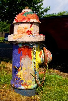 Creatively painted fire hydrant, Detroit, Michigan