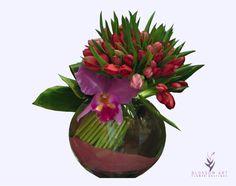Aime. Arreglo de 12, 18 o 24 tulipanes rojos, con orquídea cymbidium y gracena en florero de cristal y arena vibrante.