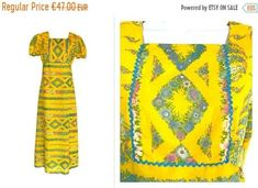 Post Etsy Items on Pinterest Maxi Dresses, Summer Dresses, Yellow Turquoise, Mod Dress, Square Necklines, Boho Festival, Pure Products, Fabric, Cotton