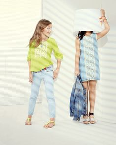 J.Crew Girls embroidered chambray dress, washed denim jacket, embroidered gauze…