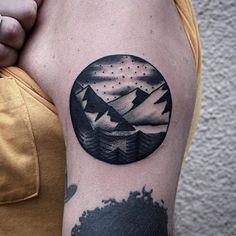 mountain landscape blackwork traditional tattoo