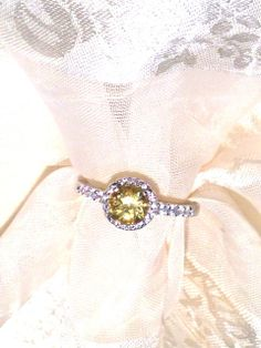 Beautiful Heliodor Ring or Engagement Ring in Halo by NorthCoastCottage, $199.00 #handmade #jewelry #etsy #bridal