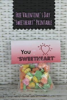 sweatheart candy valentines day card idea free printable You Are a Sweetheart Valentines Day Card Idea