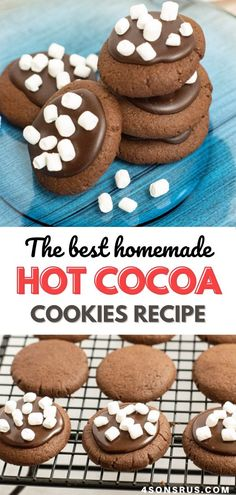 Hot chocolate cookies put the flavors of the cold weather drink into a delicious chocolate frosted cookie. These cocoa treats are easy to bake and totally delicious! #hotchocolate #cookies #recipe #dessert Cocoa Cookies, Hot Chocolate Cookies, Chocolate Heaven, Yummy Cookies, Best Dessert Recipes, Amazing Recipes, Easy Desserts, Cookie Recipes, Delicious Desserts