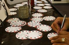 "When the 100 close friends and family arrived, they were asked to sign a ""birthday wish"" on the poker chips I created. It was a great way t..."