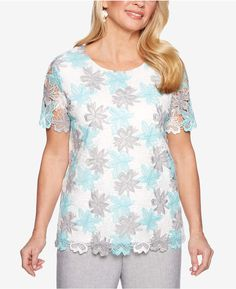 804a47b2ed Alfred Dunner Versailles Lace Overlay Top Petite Tops