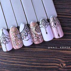 various - Nails ideas Art Deco Nails, Gel Nail Art, Love Nails, Pretty Nails, Henna Nails, Henna Nail Art, Mandala Nails, Nagel Gel, Manicure And Pedicure