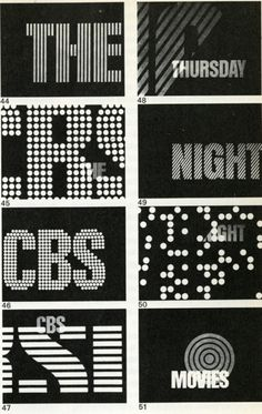 Animated title sequences from TV Graphics by Roy Laughton (Studio Vista: London and Reinhold Publishing Co.: New York, 1969). #cbs #60s