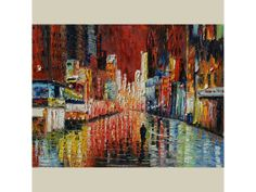 ORIGINAL Night Enigma 30x40 Oil Painting Palette Knife Textured HUGE Cityscape Night Red Buildings Reflection Colorful ART by Marchella