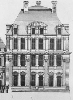 The Pavillon de Flore. West elevation. Engraving by Jean Marot,  c.  1660.