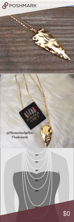 """Large 18K Gold Platted Arrow Necklace 30"""" Chain Re-Stock- Coming Soon❤️️Another incredible piece created by Function & FringeLarge 18K gold plated arrow on a 18K gold plated 30"""" chain Function & Fringe Jewelry Necklaces"""