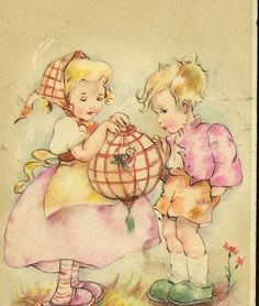Antique Postcard Two Children With Small Bird in by TheOldBarnDoor