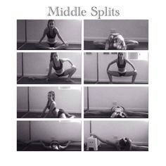 Help with middle splits. I can do front splits but not middle Cheer Stretches, Gymnastics Stretches, Ballet Stretches, Gymnastics Workout, Fitness Workouts, Cheer Workouts, Fitness Gym, Pole Fitness, Cheerleading Workouts