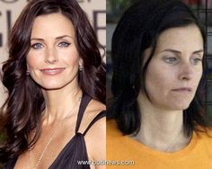 Make up, hair extensions and Photoshop. The reason women in the real world don't look like celebrities. Courtney Cox, Beauty Makeup, Hair Makeup, Hair Beauty, Cellulite, Celebrity Hairstyles, Cool Hairstyles, Celebs Without Makeup, Shops