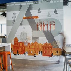 James Weinberg - print making and design - Mural for Federal Reality